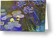 Water Lilies And Agapanthus 1917 Greeting Card
