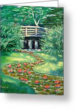 Water Lilies Bridge Greeting Card