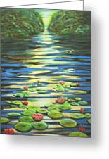Water Lillies At Dusk Greeting Card
