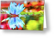 Water Lily And Bee Pastel Greeting Card