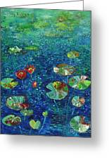 Water Lily Lotus Lily Pads Paintings Greeting Card