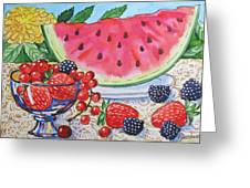 Water-melon And Berries Still Life. Greeting Card