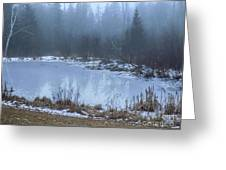 Water On Ice In Fog Greeting Card