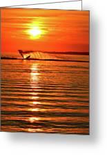 Water Skiing At Sunrise  Greeting Card
