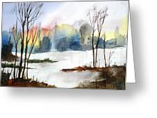 Water Sunset Study Greeting Card