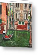 Water Taxi On Venice Side Canal Greeting Card