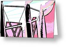 Water Tower In Pink Abstract Greeting Card