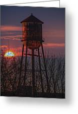Water Tower Sunset Greeting Card