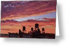 Water Towers At Sunset No. 4 Greeting Card