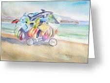 Water Toy Vendor On Teh Beaches Of Santiago Bay, Manzanillo Greeting Card