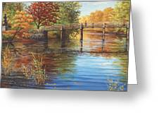 Water Under The Bridge Old North Bridge Ma Greeting Card by Elaine Farmer