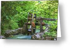 Water Wheel In The Woods Greeting Card