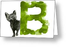 Watercolor Alphabet B Cat Art Print Painting Greeting Card