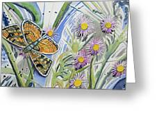Watercolor - Checkerspot Butterfly With Wildflowers Greeting Card by Cascade Colors