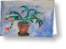 Watercolor Christmas Cactus First Bloom Greeting Card