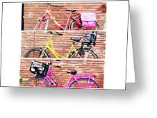 Watercolor Collage Of Three Bicycles In Triptych Greeting Card