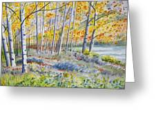 Watercolor - Colorado Autumn Forest And Landscape Greeting Card