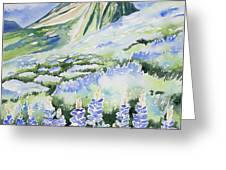 Watercolor - Crested Butte Lupine Landscape Greeting Card by Cascade Colors