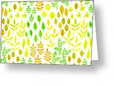 Watercolor Doodle Leaves Pattern White  Greeting Card