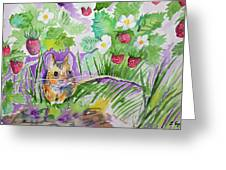 Watercolor - Field Mouse With Wild Strawberries Greeting Card