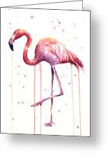 Watercolor Flamingo Greeting Card