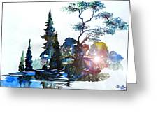 Watercolor Forest And Pond Greeting Card