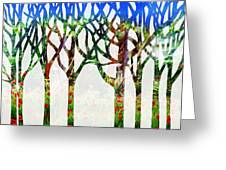 Watercolor Forest Silhouette Summer Greeting Card