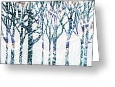 Watercolor Forest Silhouette Winter Greeting Card