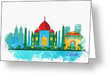 Watercolor Illustration Of Delhi Greeting Card