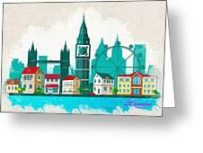 Watercolor Illustration Of London Greeting Card