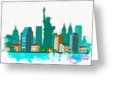 Watercolor Illustration Of New York Greeting Card