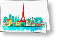 Watercolor Illustration Of Paris Greeting Card
