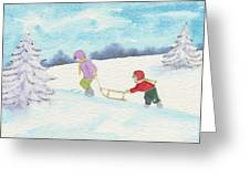 Watercolor Illustration Showing Two Children Pulling Sledge Uphi Greeting Card