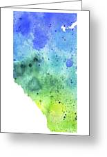 Watercolor Map Of Alberta, Canada In Blue And Green  Greeting Card