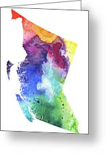 Watercolor Map Of British Columbia, Canada In Rainbow Colors  Greeting Card