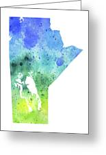 Watercolor Map Of Manitoba, Canada In Blue And Green  Greeting Card