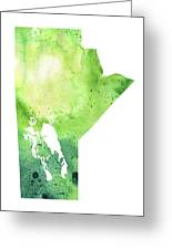 Watercolor Map Of Manitoba, Canada In Green Greeting Card