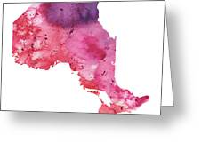 Watercolor Map Of Ontario, Canada In Orange, Red And Purple  Greeting Card