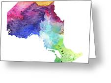 Watercolor Map Of Ontario, Canada In Rainbow Colors  Greeting Card