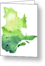Watercolor Map Of Quebec, Canada In Green  Greeting Card