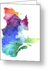 Watercolor Map Of Quebec, Canada In Rainbow Colors  Greeting Card