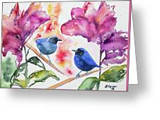Watercolor - Masked Flowerpiercers With Flowers Greeting Card