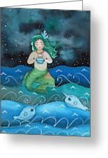 Watercolor Mermaid Feeding Her Narwhals Greeting Card