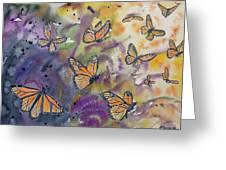 Watercolor- Monarchs In Flight Greeting Card