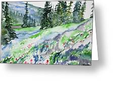 Watercolor - Mountain Pines And Indian Paintbrush Greeting Card