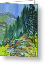 Watercolor Of Mountain Forest Greeting Card