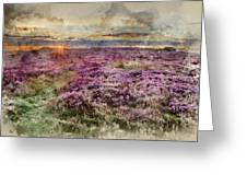 Watercolor Painting Of Beautiful Dawn Sunrise Landscape Image Of Heather On Higger Tor In Summer In  Greeting Card