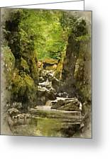 Watercolor Painting Of Beautiful Ethereal Landscape Of Deep Sided Gorge With Rock Walls And Stream F Greeting Card