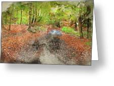 Watercolor Painting Of Beautiful Landscape Image Of Forest Covered In Autumn Fall Color Contrasting  Greeting Card