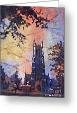Watercolor Painting Of Duke Chapel On The Duke University Campus Greeting Card